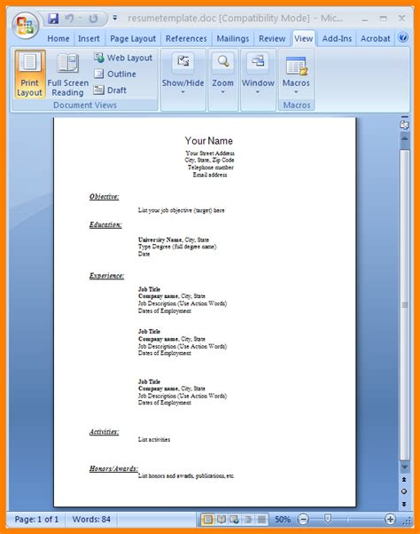 resume format word document ledger paper