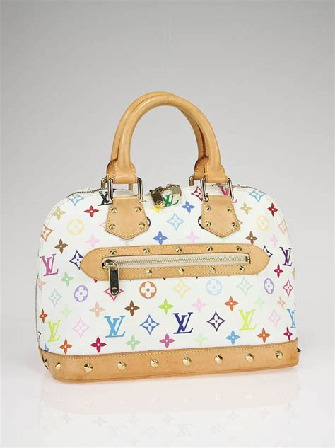 louis vuitton white multicolor monogram canvas alma bag