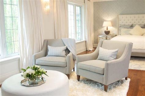 White Sitting Chair bedroom sitting area with gray chairs and white ottoman