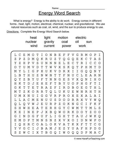 printable word search electricity energy wordsearch worksheet