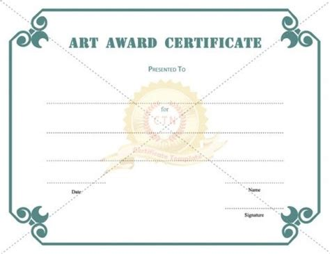 art award certificate template present to students if