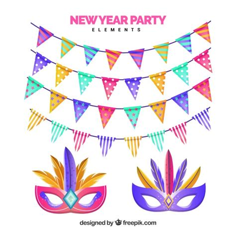 new year element vector free colorful new year element collection with garlands