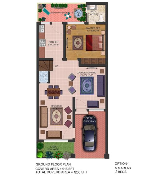 home design 3d map 3d front elevation com 5 marla front elevation plan