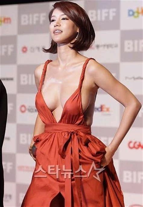korean actress orange dress korean actress oh in hye wearing sexy orange dress 16 pics
