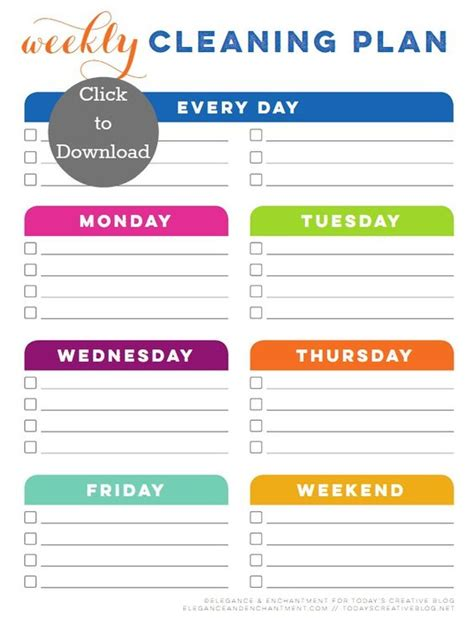 printable housekeeping planner weekly cleaning schedule printable cleaning schedules