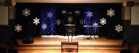 best xmas stage decoration flakes a falling church stage design ideas