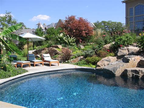 backyard with pool landscaping ideas landscaping ideas by nj custom pool backyard design expert