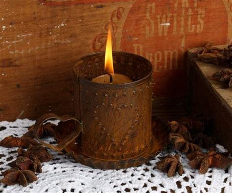 Rusty Tin Punch Heart Tart Candle Holder   Candles and