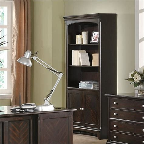 bookcase with cabinet base coaster garson open bookcase with storage cabinet base in