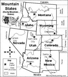 rocky mountain states map quiz printout