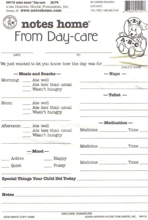 templates of childcare take home reports daycare daily report sheets infant reports for printable