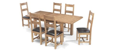 rustic oak 132 198 cm extending dining and 6 chairs