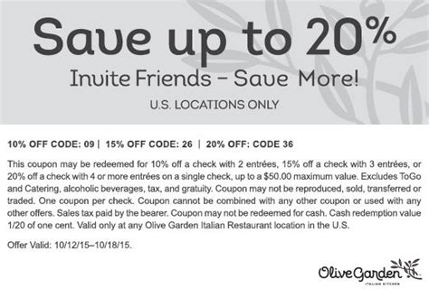olive garden coupons november 2015 up to 20 at olive garden restaurants