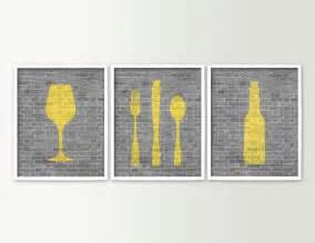 modern dining room art kitchen prints beer wine fork knife