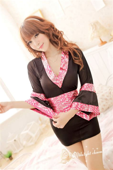 Termurah Kimono Jpn Kimono With G String Sleep Wear Japanese Pink Kimono Dress Ribbon Waistband