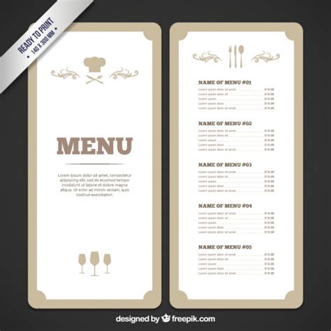 vintage menu template retro menu template vector free