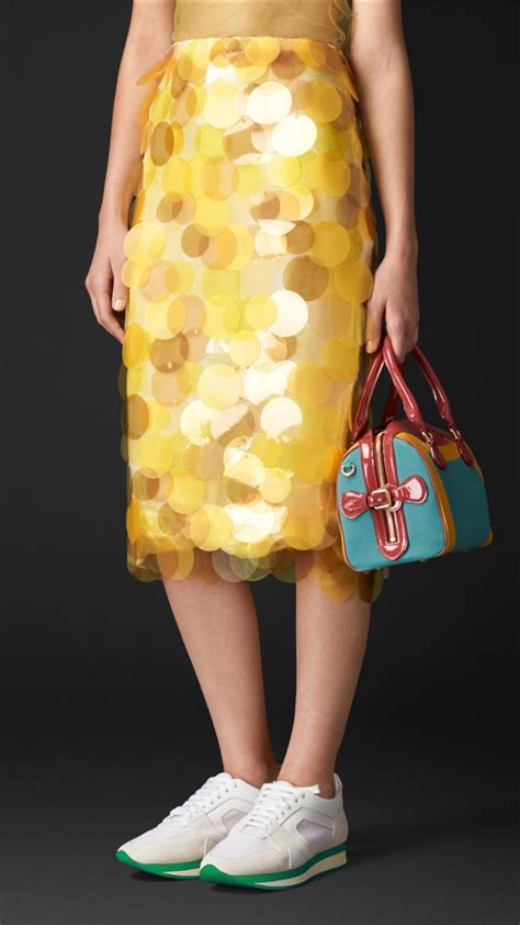 yellow pattern pencil skirt lyst burberry sequin embroidered pencil skirt in yellow