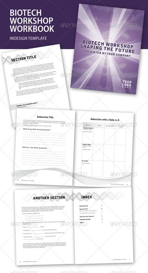 workbook template indesign biotech workshop indesign workbook graphicriver