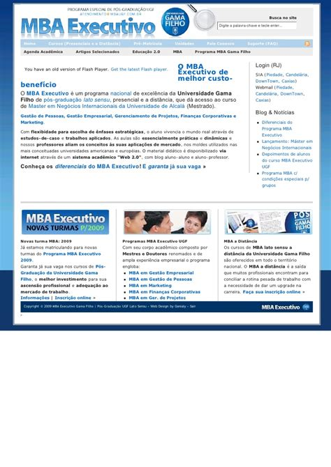 Mba Site by P 243 S Gradua 231 227 O Gama Filho Mba Executivo Gest 227 O Empresarial