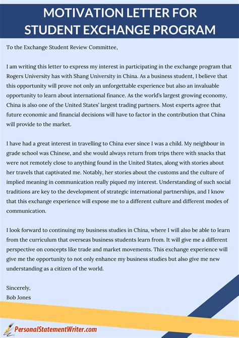 Motivation Letter Exle Exchange Student Write An Awesome Motivation Letter For Student Exchange Program