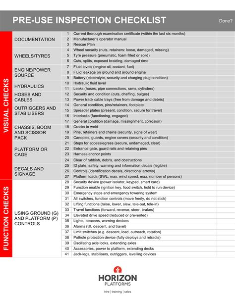 pre installation checklist template ipaf pre use inspection checklist to put mewp