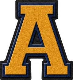 presentation alphabets gold navy blue varsity letter a