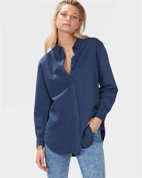 756170 Denim Oversized Blouse oversized denim blouse lace henley blouse