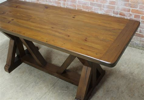 trestle table and bench old pine x r trestle table with bench lake and mountain home
