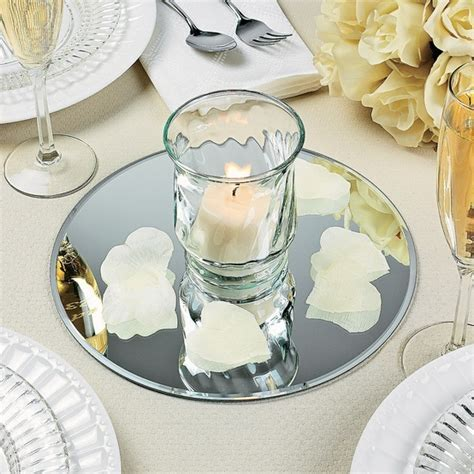 Round Table Mirrors   DIY Wedding Centerpieces