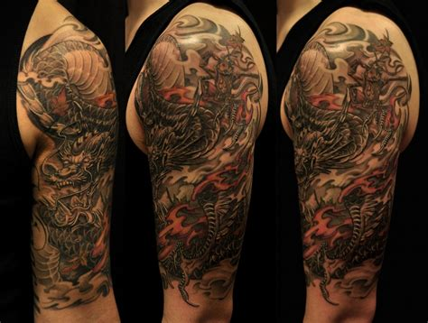 dragon sleeve tattoo asian black and grey archives chronic ink