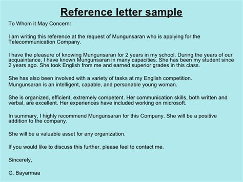 Character Reference Letter To Whom It May Concern 8 Reference Letters Mungunsaran