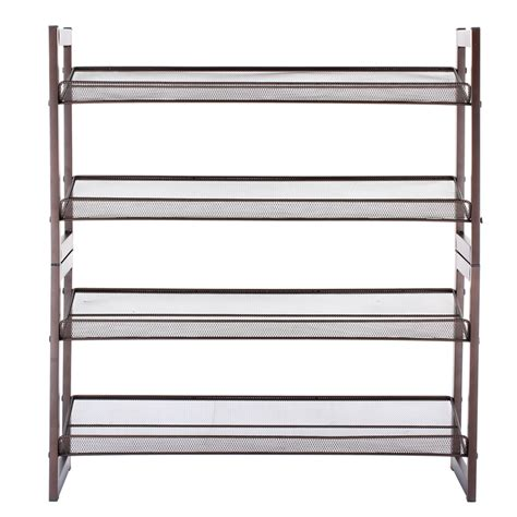 shoe rack with storage 16 pairs 4 tier metal shoe rack space saving home shelf