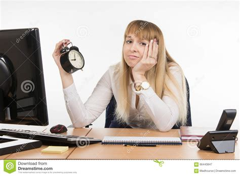 not working dull office employee does not want to work in the morning