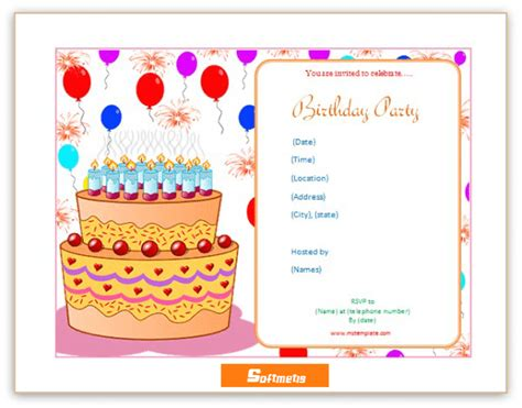 birthday invitation template soft templates