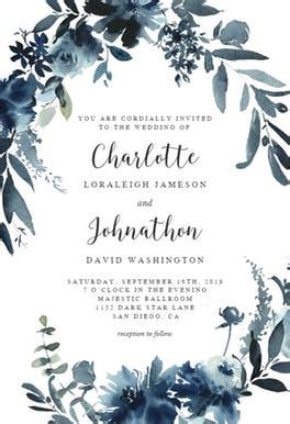 Indigo Flowers   Wedding Invitation Template (free