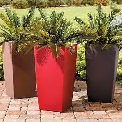 self watering square tapered planter modern smooth