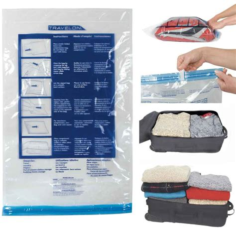 Rolling Compressed Plastic Bag travel compression bags x 2 packing clear travelon roll up