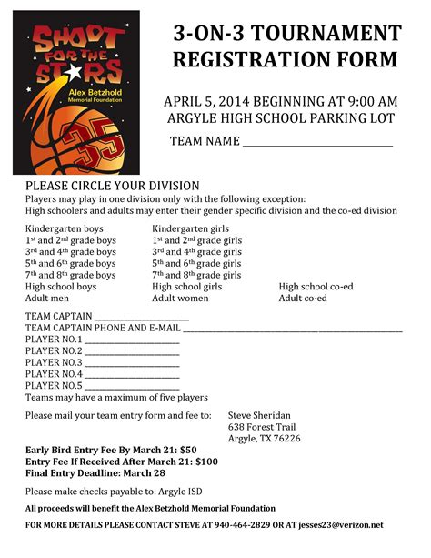 3 On 3 Basketball Tournament Registration Form Template the talon shoot for the 3 on 3 basketball