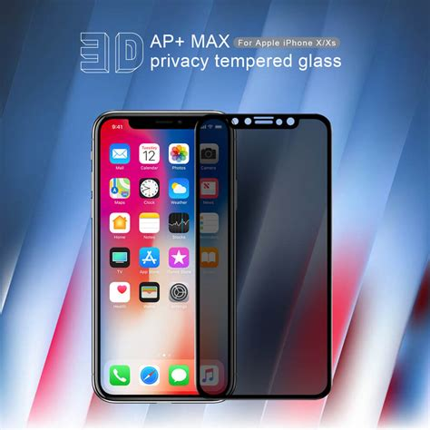 nillkin amazing 3d ap max privacy tempered glass screen protector for apple iphone xs iphone x