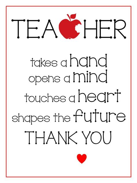 printable thank you quotes free printables teacher appreciation gifts