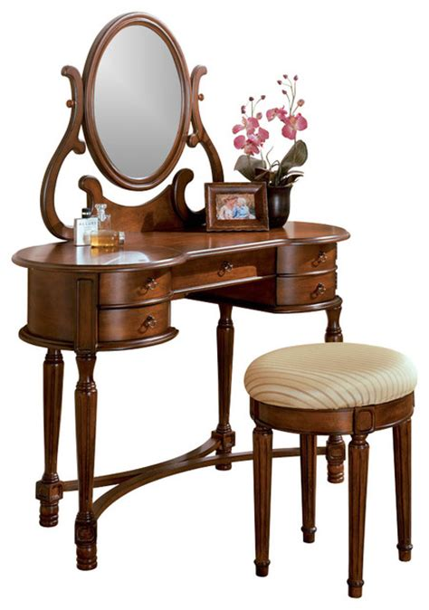 Oak Makeup Vanity Table Oak Vanity Set Makeup Table Rounded Edges Drawer Upholstered Stool Oval Mirror Traditional