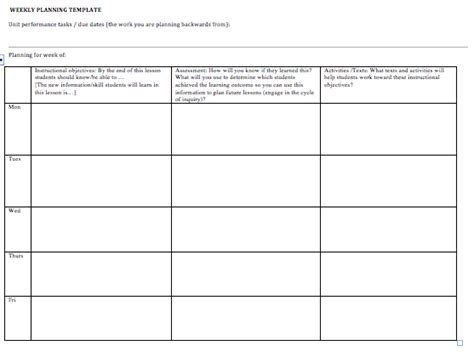 weekly planning template btrgrad