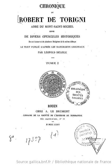 Chronique de Robert de Torigni, abbé du Mont-Saint-Michel