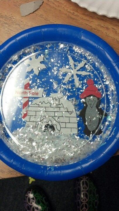 Paper Snow Globe Craft - plastic and paper plate snow you can shake the snow
