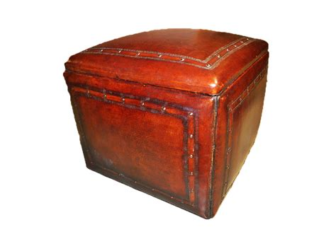 tooled leather ottoman tooled leather large box ottoman with tack trim in antique