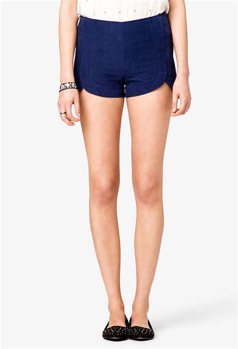 Highwaist Blue lyst forever 21 scalloped high waist shorts in blue