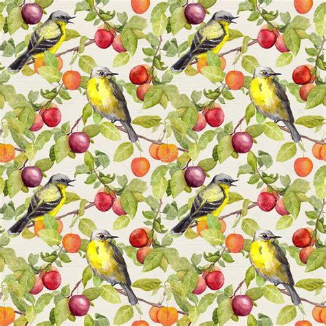 fruit birds fruits birds garden with plum cherry apples seamless
