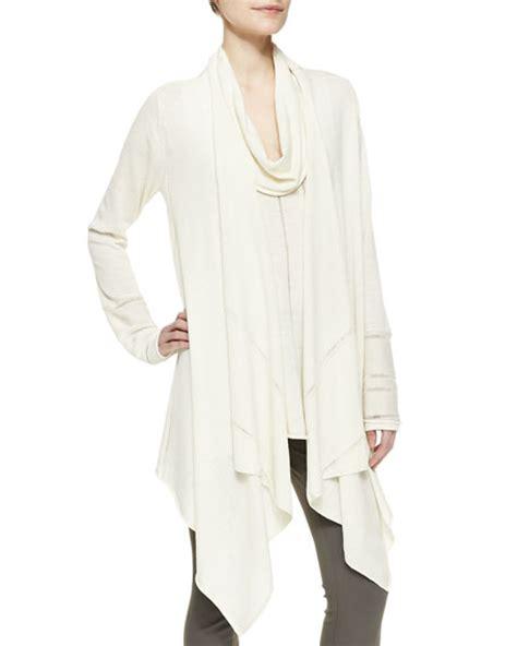 long sleeve draped cardigan donna karan long sleeve draped waterfall wool cardigan