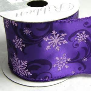 purple snowflake design wired edged christmas ribbon