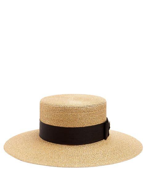 gucci straw boater hat  metallic lyst